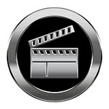 movie clapper board icon silver, isolated on white background.