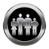 family icon silver, isolated on white background.