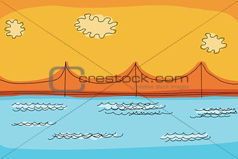 Abstract Suspension Bridge