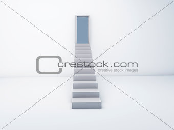 Stairs to open door. success concept