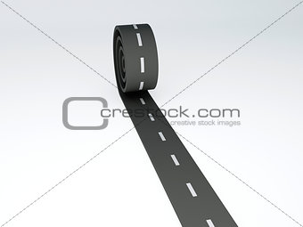 Abstract asphalt road on isolated white
