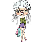 Vector hipster fashion cute girl