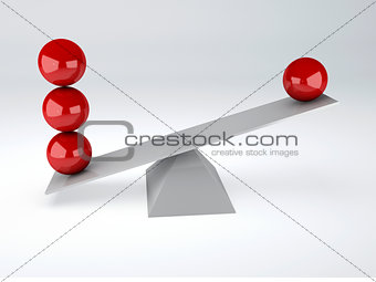 red  spheres. Balance concept