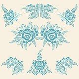 Floral blue elements in Gzhel style