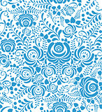 White and blue seamless pattern in Russian style gzhel