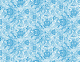 Blue floral textile vector seamless pattern in gzhel style