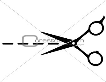 cutting scissors with line