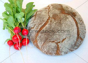 Bread and vegetables radish
