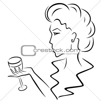 Beautiful woman with a wineglass in hand
