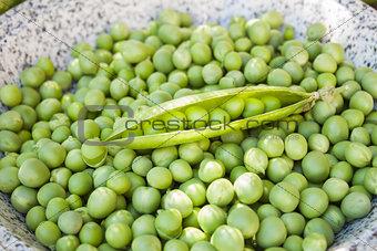 Fresh cleaned peas closeup