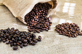 three samples pure Arabica coffee beans of various origins