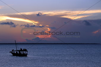 Beach sunset and boat