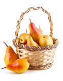 Fresh pear in wicker basket