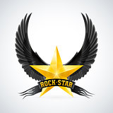 Golden star with Rock Star banner and wings