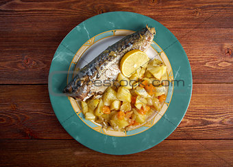 grilled mackerel and potatoes