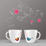 cup, flower and bird