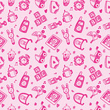 seamless doodle baby pattern background