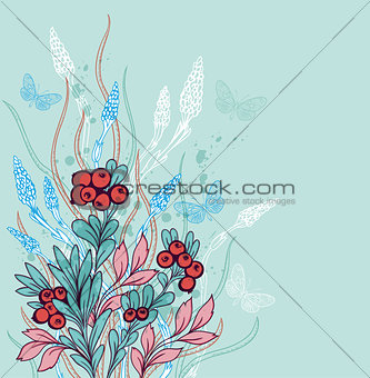 Background with berries and butterflies