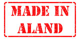 Made in Aland - inscription on Red Rubber Stamp.
