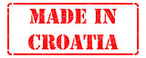 Made in Croatia - inscription on Red Rubber Stamp.