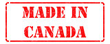 Made in Canada - inscription on Red Rubber Stamp.