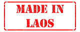 Made in Laos - inscription on Red Rubber Stamp.