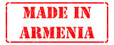 Made in Armenia - inscription on Red Rubber Stamp.
