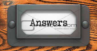 Answers - Concept on Label Holder.