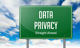 Data Privacy on Green Highway Signpost.