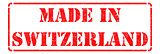 Made in Switzerland - Red Rubber Stamp.