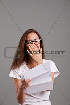 girl touched by something she read