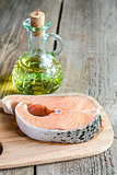Food with unsaturated fats - salmon and oil