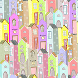 Town houses seamless pattern background art illustration