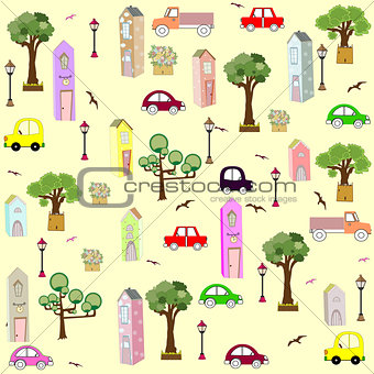 seamless house pattern art illustration city cute