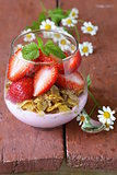 Dairy yogurt dessert with muesli and strawberries