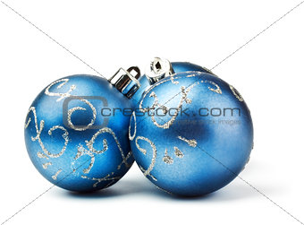 three blue decoration balls