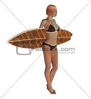 3D Blond Surf Girl