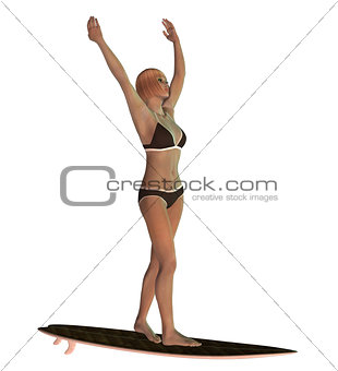 3D Blond Surf Girl