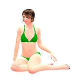 3d girl in green bikini