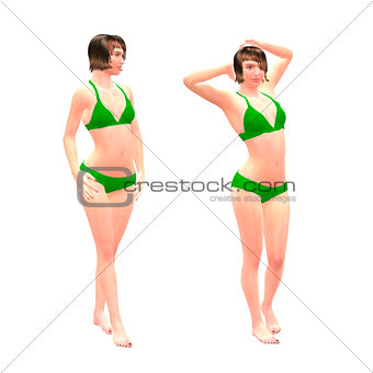 3d girl in green bikini