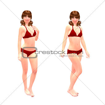 3d girl in red bikini