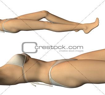 3d Girl in White Bikini