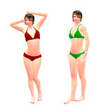 3d girls in red and green bikini