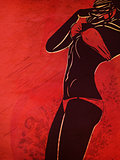Bikini silhouette on grunge red background