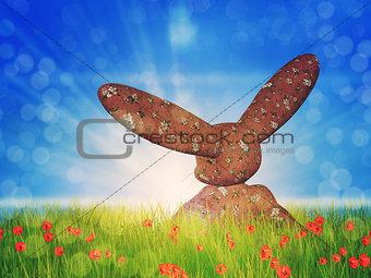 Toon bunny on grass field