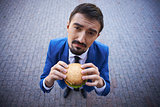 Businessman with sandwich