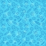 Blue Hand Drawn Seamless Pattern with Kids