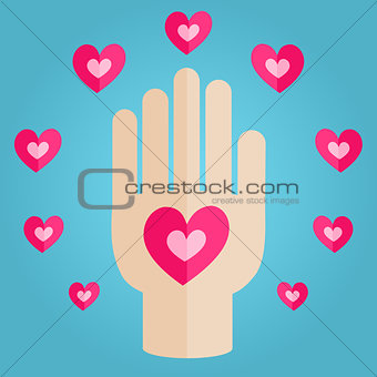 Palm Holding Pink Heart