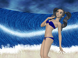 Girl and big wave