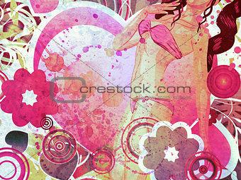 Grunge girl in pink bikini and big heart